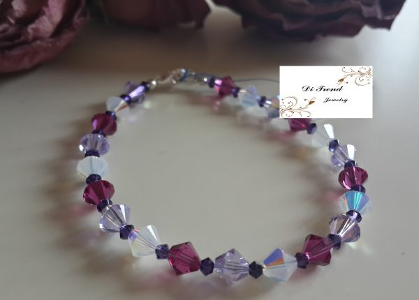 Гривна Фуксия с цветни австрийски кристали