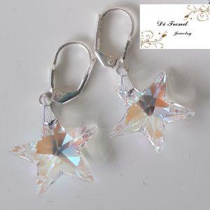 Дамски сребърни обеци с кристали Звезда