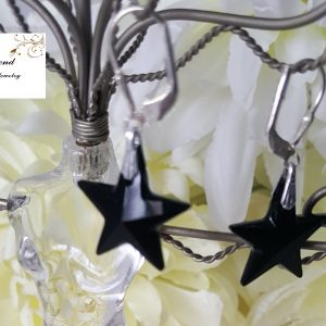 Дамски обеци с кристали Звезда Black мат