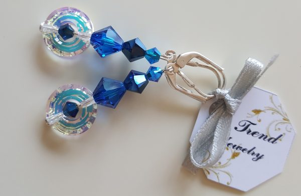Сребърни висящи обеци Нео с австрийски кристали
