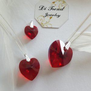 Висулка за колие Сърце Червено Swarovski Elements