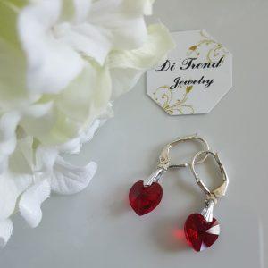 Сребърни обеци с кристал Сърце Червено