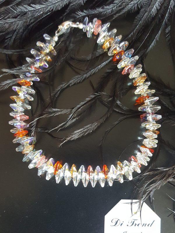 Гривна Розова Праскова Патент 2,ръчно изработена дамска гривна с кристали,