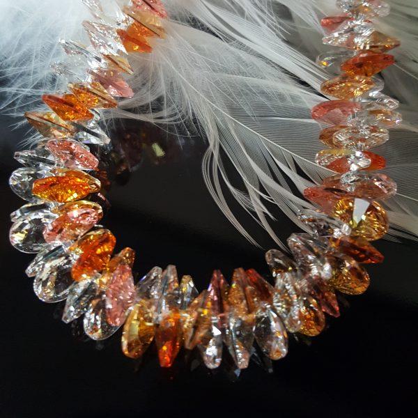 Гривна Розова Праскова Патент,уникална дамска гривна с австрийски кристали
