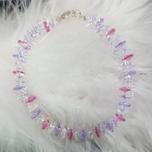 Гривна с оригинални австрийски кристали, дамски бижута с кристали,дамски гривни