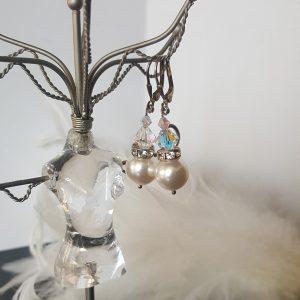 Обеци Бели Перли с перли и кристали