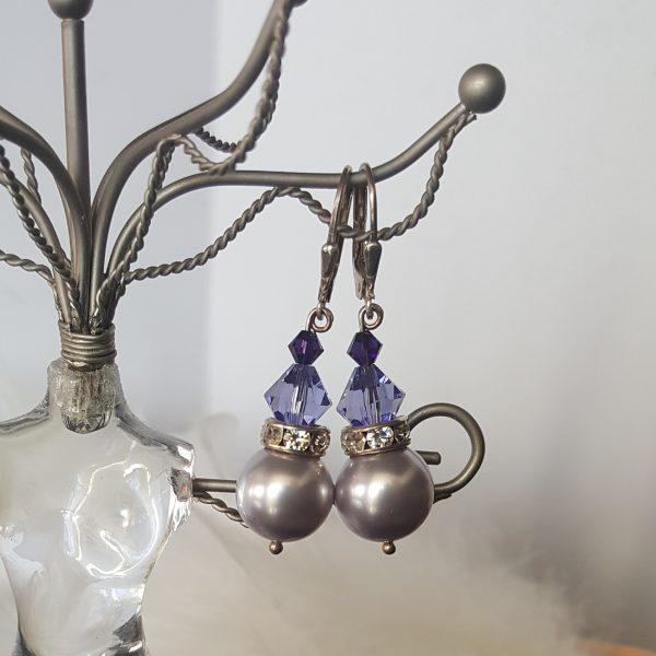 Обеци Лавандър с перли и кристали Сваровски