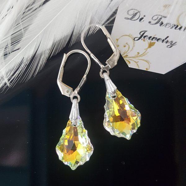 Висящи обеци Барок с австрийски кристали Swarovski