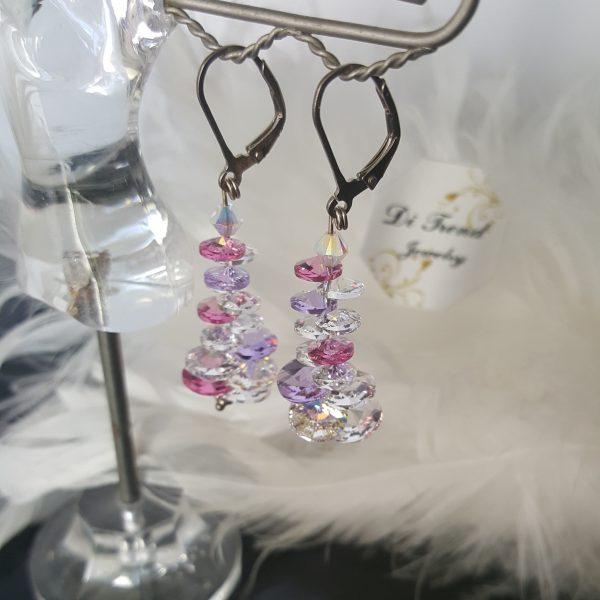 Сребърни висящи обеци Розе Патент с кристали