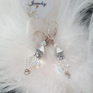 Висящи сребърни обеци Утринна роса с кристали