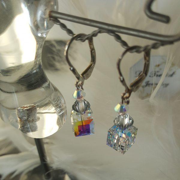 Обеци Куб с австрийски кристали
