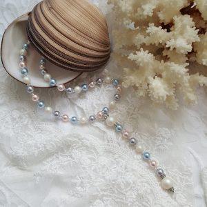 Колие с перли Swarovski Мултиколор