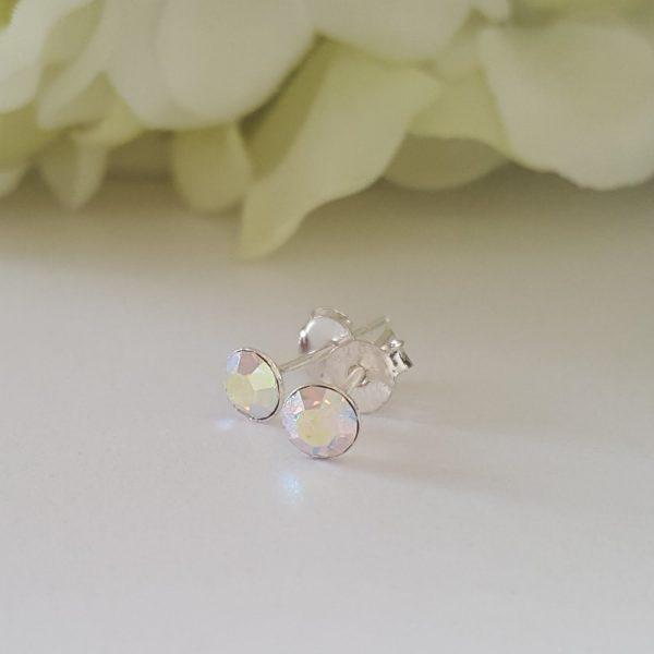 Сребърни обеци Куатро Кристал АБ с кристали Swarovski Crystals