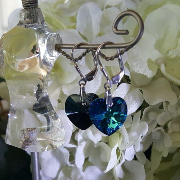 Сребърни обеци Сърце Бермуда Блу 3