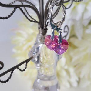 Детски сребърни обеци Сърце Розе