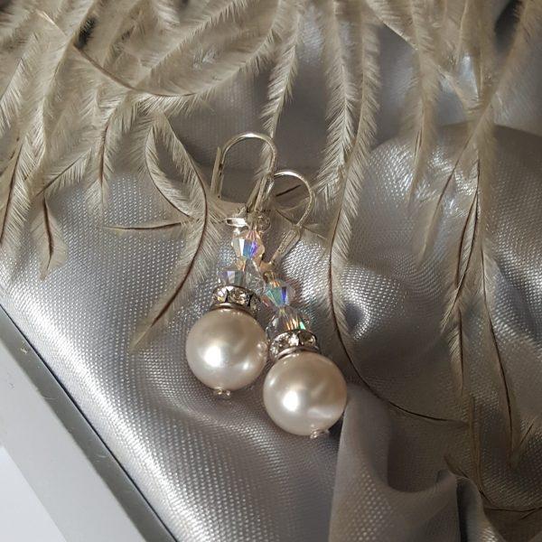 Обеци Бели перли 2 с перли и кристали Сваровски