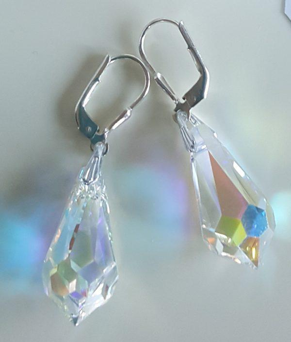 Дамски сребърни дълги обеци Архи с кристали Сваровски