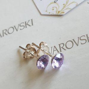 Сребърни обеци Аура Лайт Аметист с кристали