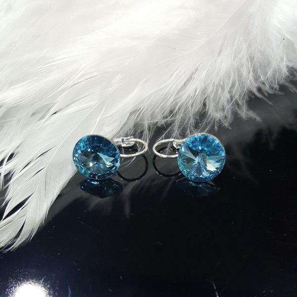 Посребрени дамски обеци с кристали Вижън Аквамарин