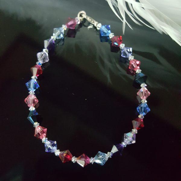 Гривна Фуксия Мултиколор, изработена с цветни австрийски кристали