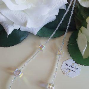 Колие с кристали Swarovski Куб Аурора Бореалис