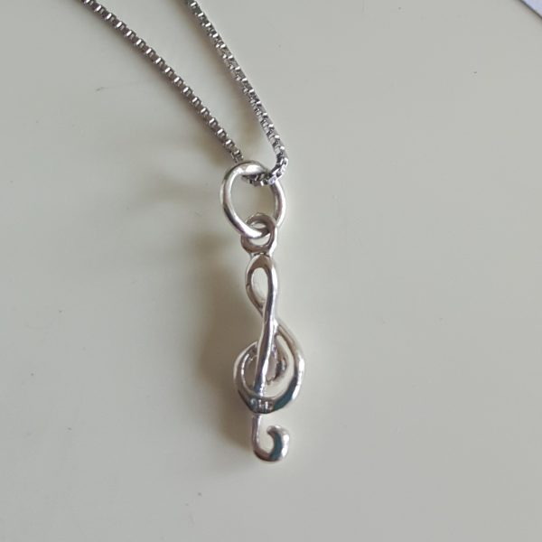 Сребърна висулка за колие Музикален ключ