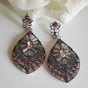 Висящи дамски обеци с кристали