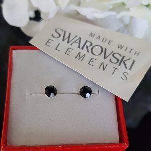 Сребърни обеци Куатро Джет с кристали Swarovski Crystals