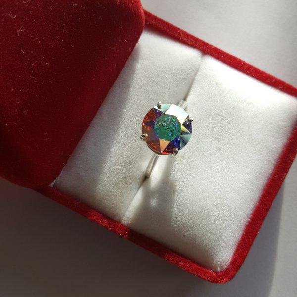 Сребърен пръстен Dolce Кристал Аурора Бореалис