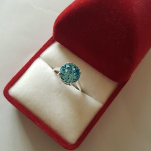 Сребърен пръстен Dolce с кристал Аквамарин