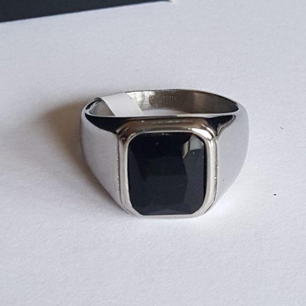 Мъжки пръстен стомана с оникс
