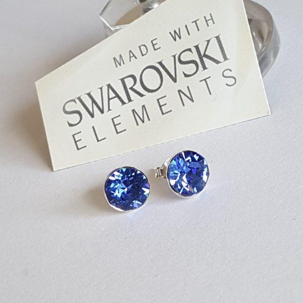 Сребърни обеци Лайт Сапфир с кристали Swarovski Crystals