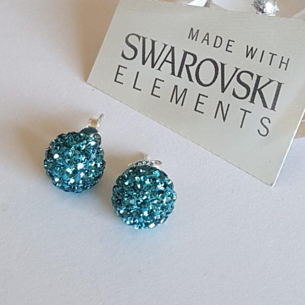 Сребърни обеци на винт с камъни Сваровски