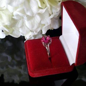 Сребърен пръстен Dolce с кристал Фуксия