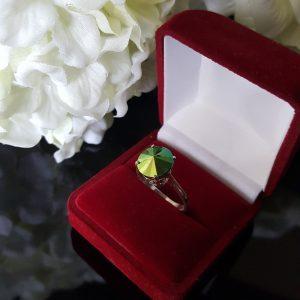 Сребърен пръстен Dolce с кристал Зелен Скарабей