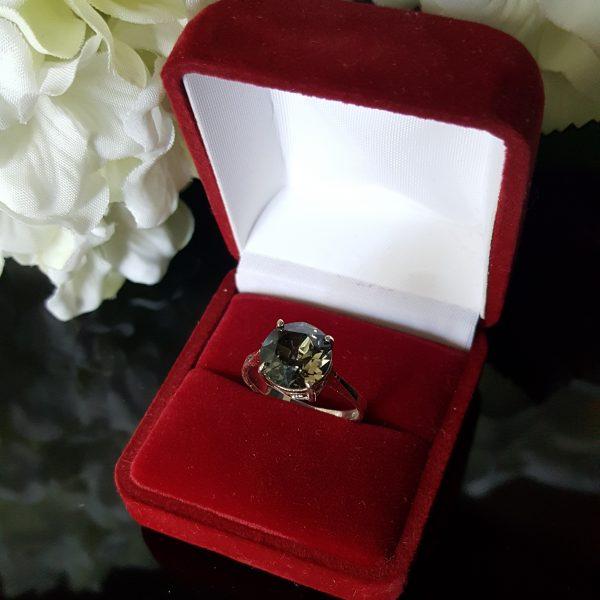 Сребърен пръстен Dolce с кристал Черен диамант