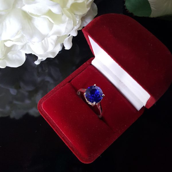 Сребърен пръстен Dolce с кристал Кралско синьо