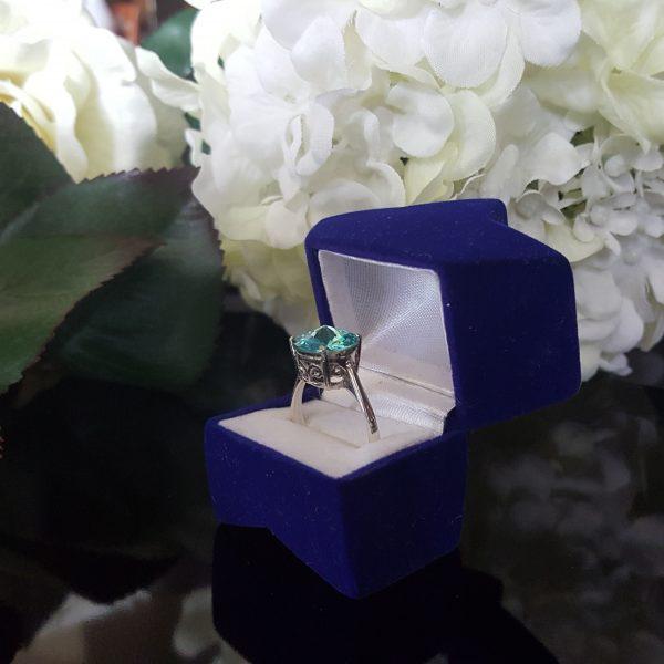 Сребърен пръстен Dolce с кристал Светъл тюркоаз