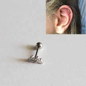 Пиърсинг за горна част ухо с 4 циркония