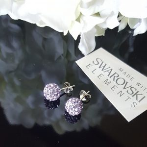 Сребърни обеци PAVE Swarovski Виолет