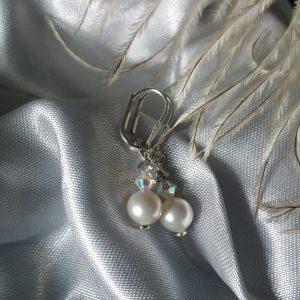 Сребърни обеци с перли Сваровски