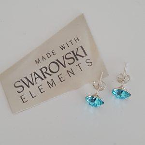Сребърни обеци на винт с кристали