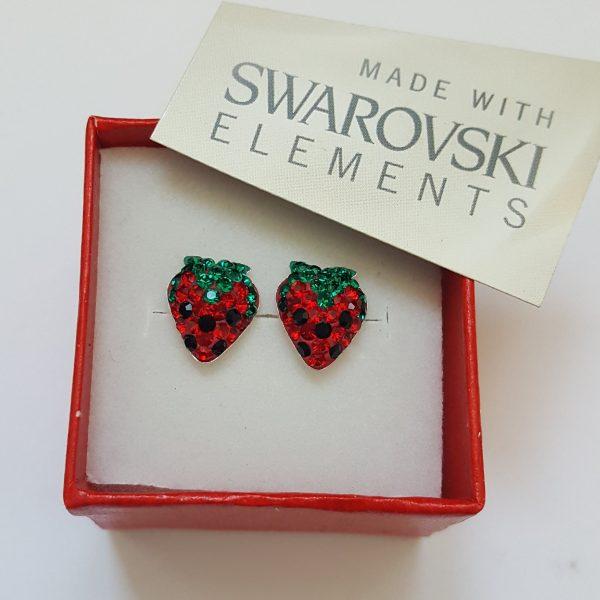Сребърни обеци PAVE Swarovski Ягода 5
