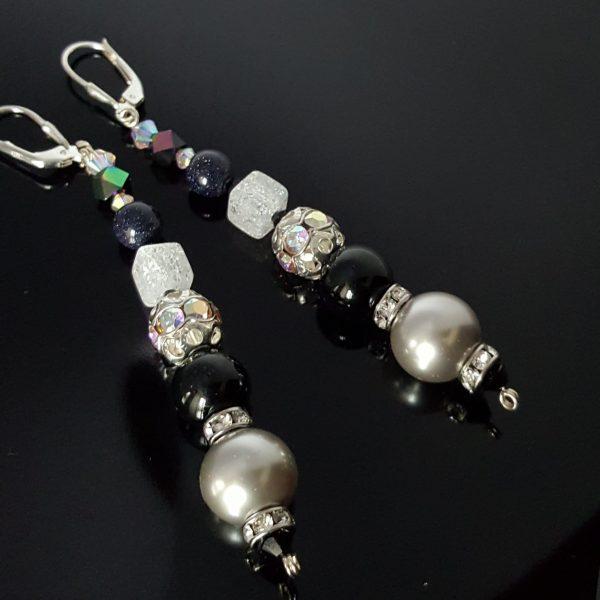 Дълги обеци с естествени камъни и Swarovski Crystal