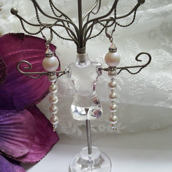 Обеци с бели перли Swarovski Crystal