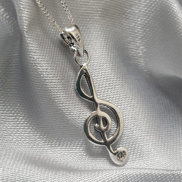 Сребърна висулка за колие Музикален ключ Макси