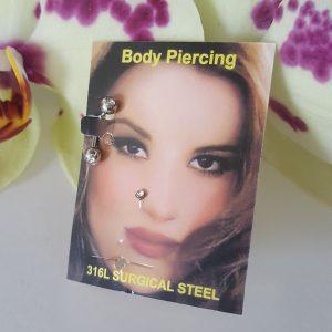 Пиърсинг комплект за нос и за вежди с кристал