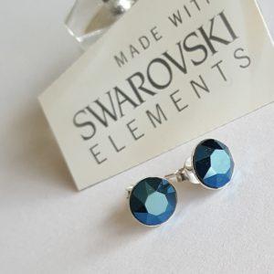 Сребърни обеци Инес Блу Металик с кристали Swarovski Crystals