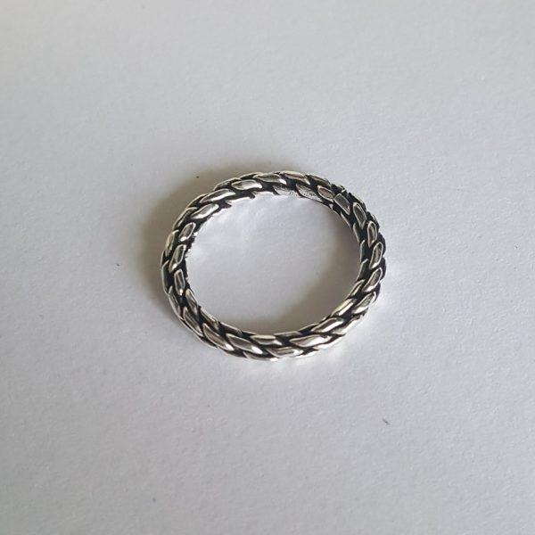 Сребърен пръстен халка Морско въже