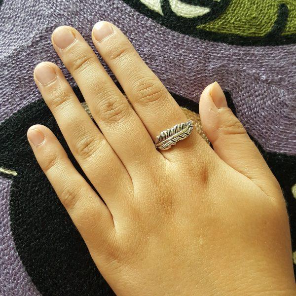 Сребърен пръстен Перо 2